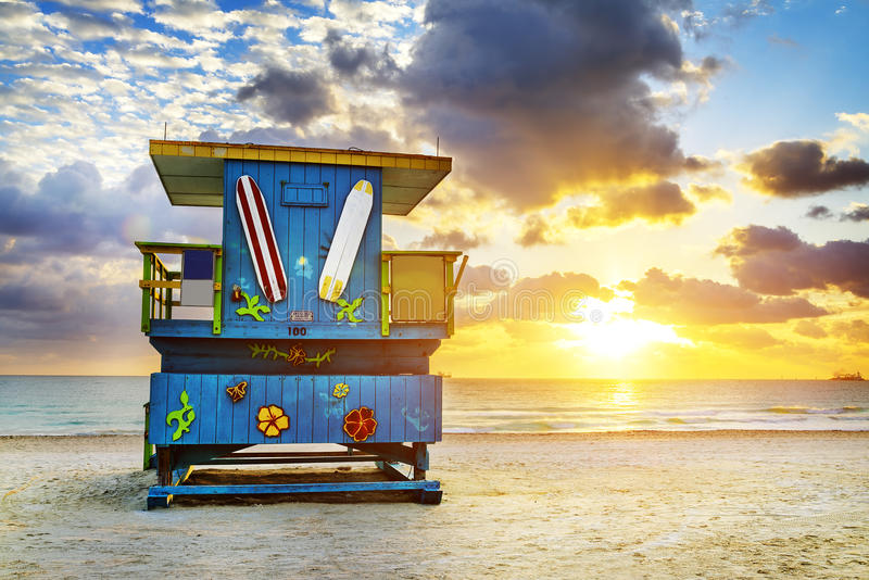 De zonsopgang van het het Zuidenstrand van Miami stock foto