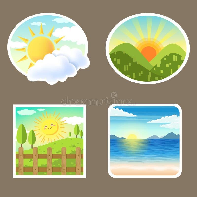 De zonsopgang van het pictogramlandschap stock afbeelding