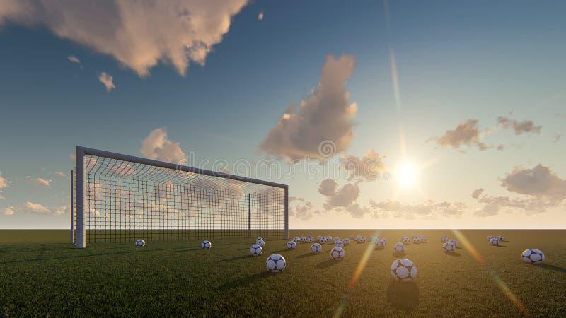De zonsopgang van het de poortvoetbal van voetbalballen vector illustratie