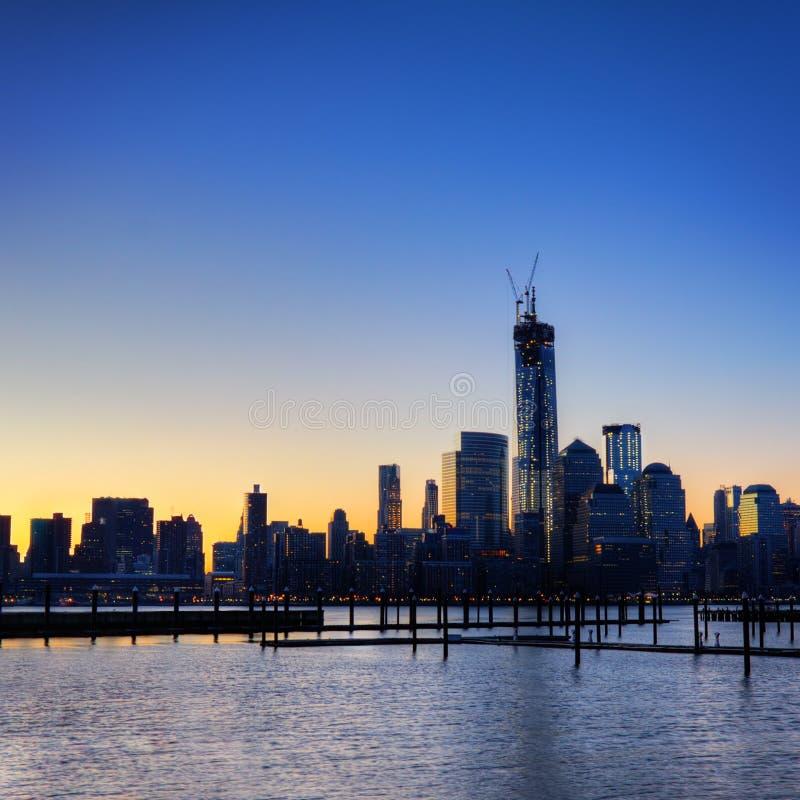 De zonsopgang van Manhattan royalty-vrije stock foto