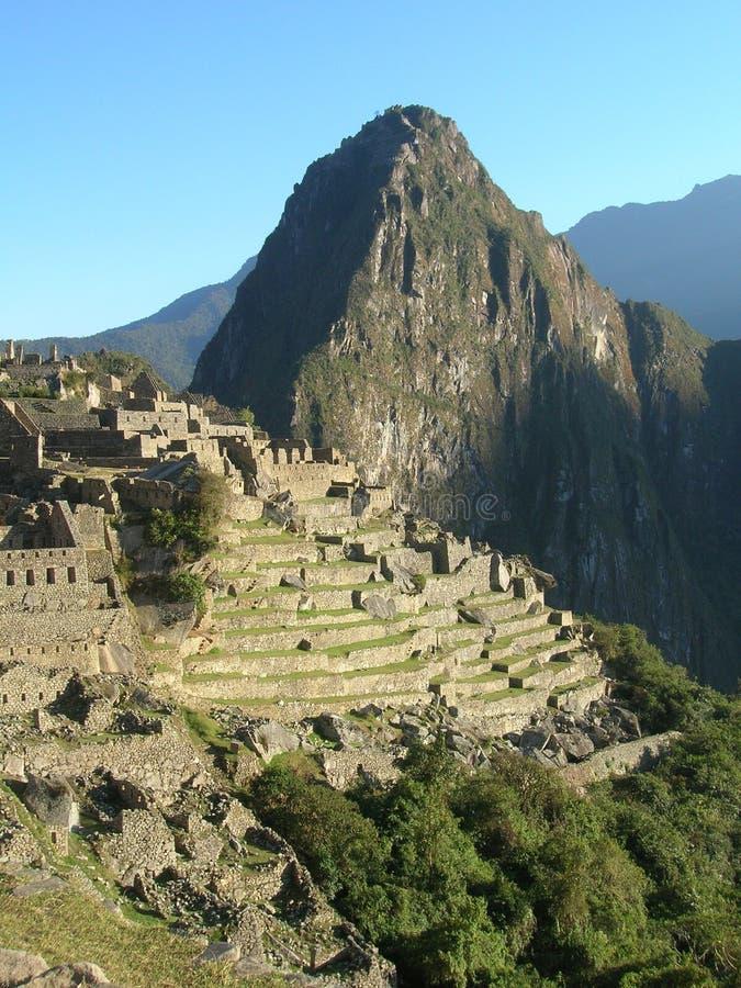 De zonsopgang van Picchu van Machu stock foto