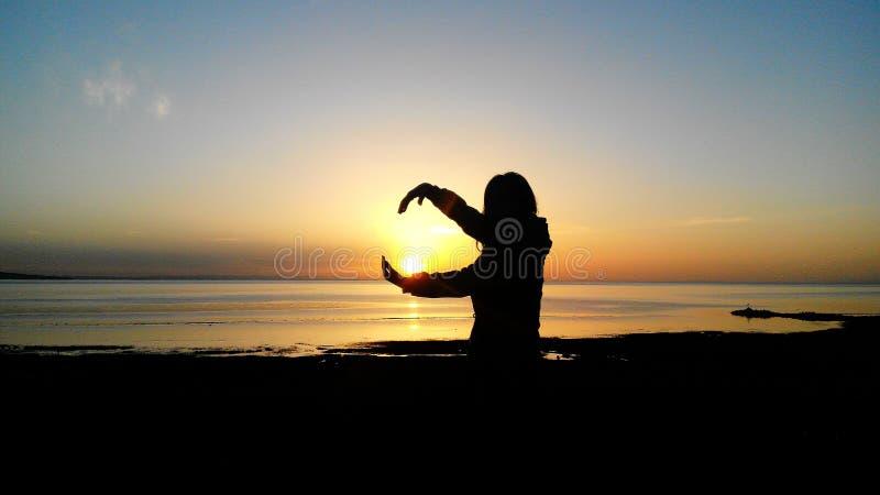 de zonsopgang van qinghaimeer stock foto