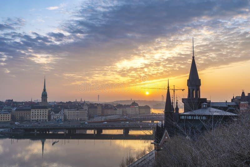De zonsopgang van Stockholm Zweden stock afbeeldingen