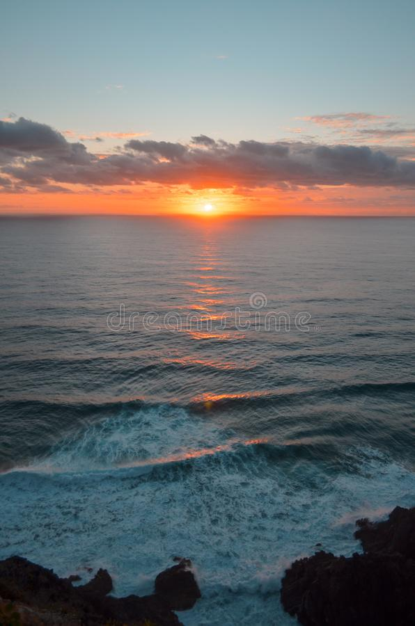 De zonsopgang van de vuurtorenkaap byron royalty-vrije stock fotografie
