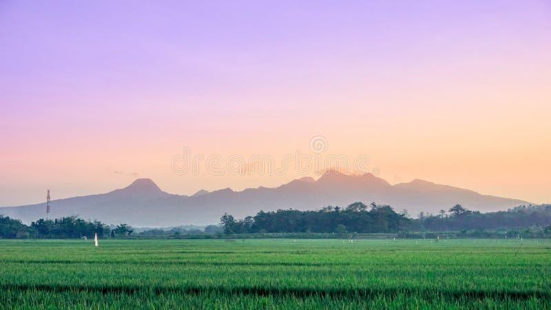 De zonsopgang zet muria, Indonesië op royalty-vrije stock afbeeldingen
