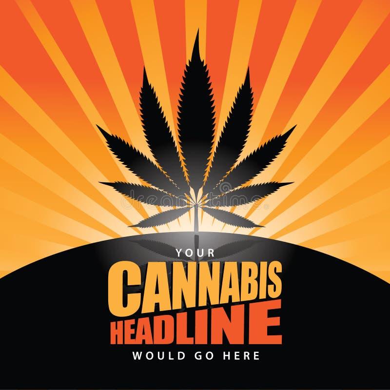 De zonsopgangachtergrond van de cannabis oranje uitbarsting vector illustratie