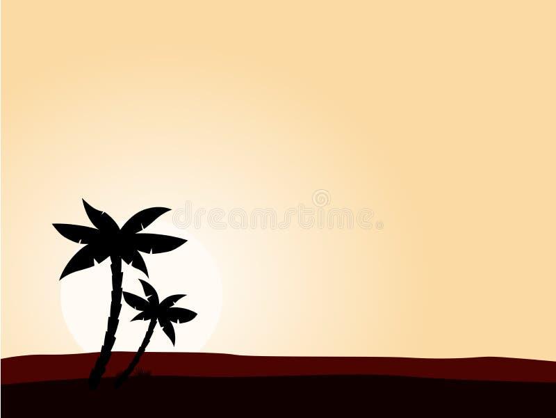 De zonsopgangachtergrond van de woestijn met zwarte palm
