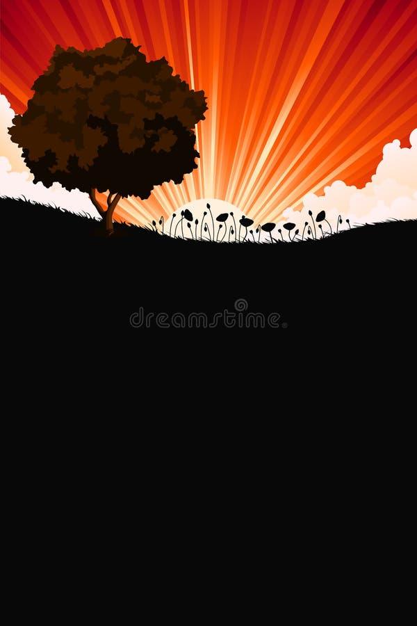 De zonsopganglandschap van de aard met boom en bloemen stock illustratie