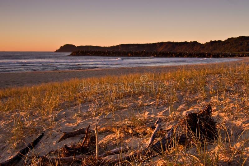 De zonsopgangscène van het strand, oceaan royalty-vrije stock afbeelding