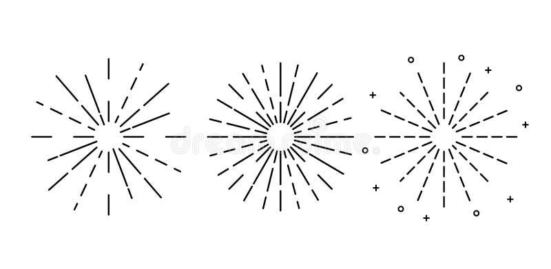 De zonstralen overhandigen getrokken, Reeks uitstekende hand getrokken zonnestralen Vector illustratie die op witte achtergrond w vector illustratie