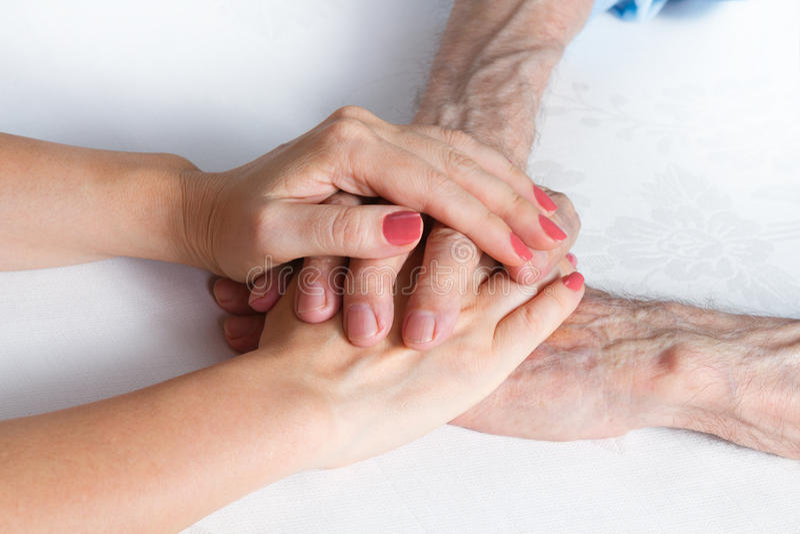 De zorg is thuis van bejaarden stock afbeeldingen