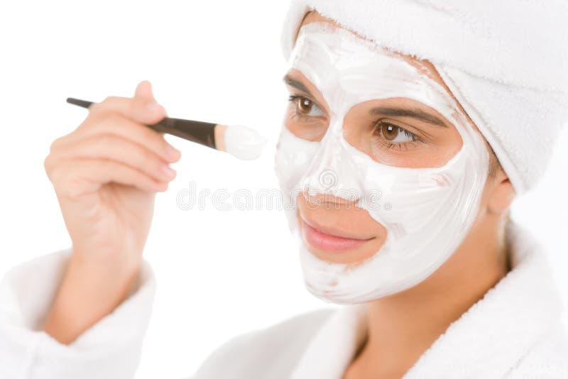 De zorg van de het probleemhuid van de tiener - vrouwen gezichtsmasker royalty-vrije stock afbeelding
