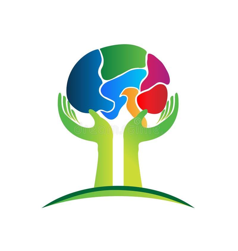 De zorg van hersenenhanden vector illustratie