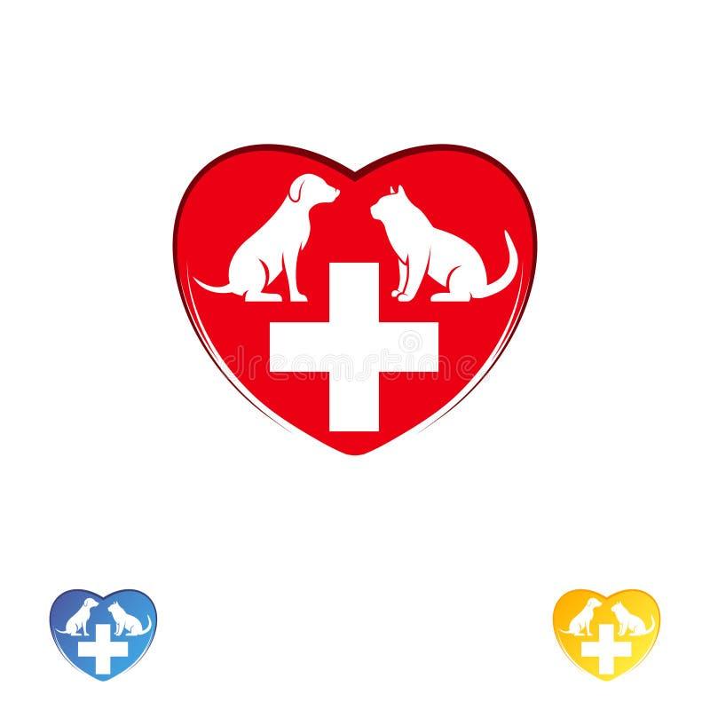 De zorg van het de kliniekhuisdier van de embleemdierenarts Hond en kat in het hart Vectorembleemmalplaatje stock illustratie