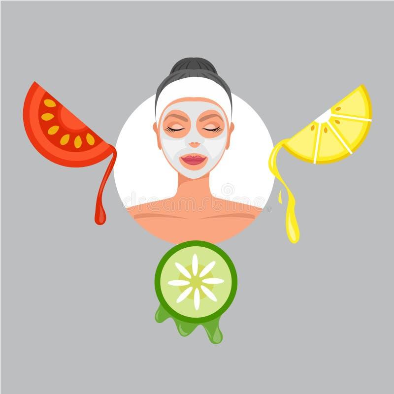 De Zorg van de het Maskerhuid van het beeldverhaalgezicht Kuuroordschoonheid met de tomaten en de komkommer van de fruitcitroen I royalty-vrije illustratie