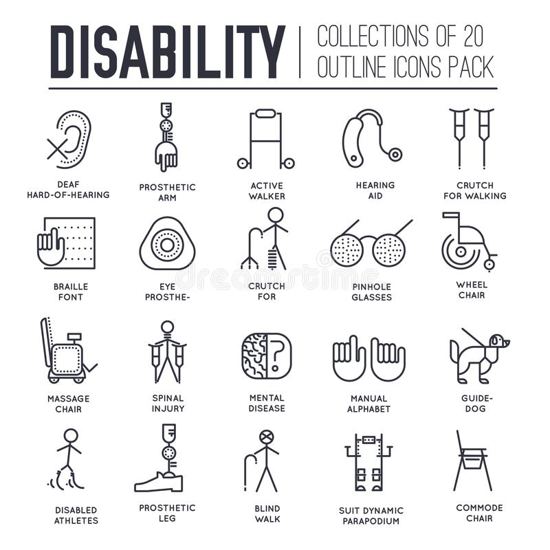 De zorgmensen met gehandicapten verdunnen het concept van de lijnillustratie De vlakke pictogrammen van de de onbekwaamheidsdag v royalty-vrije illustratie