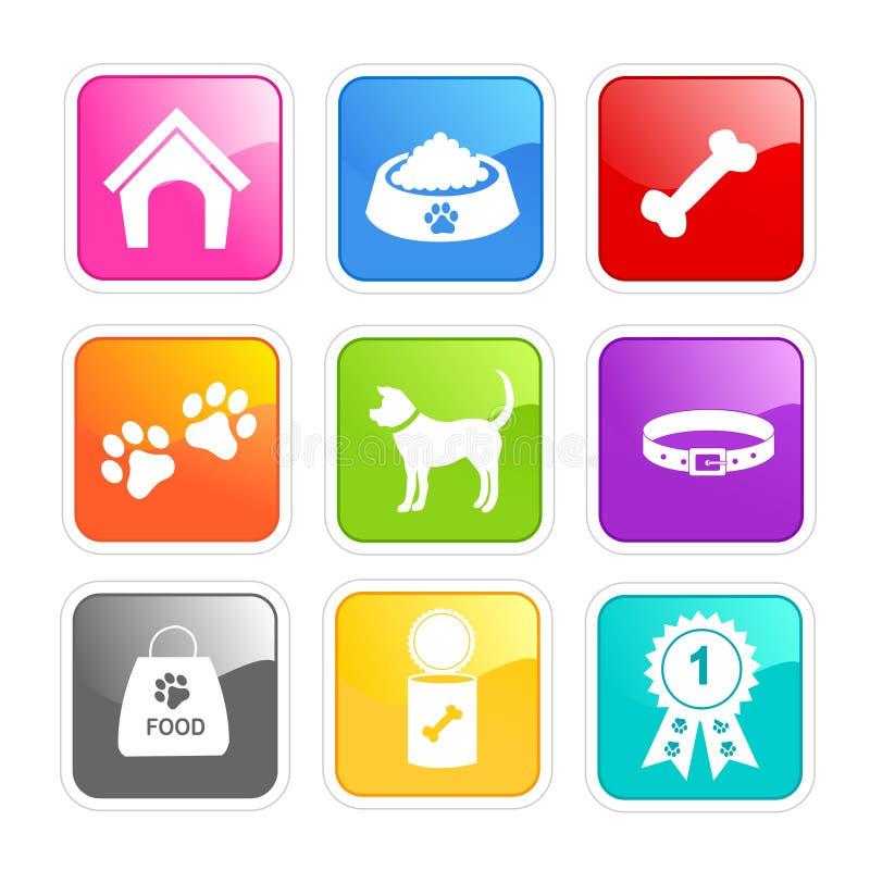 De zorgpictogrammen van de hond vector illustratie