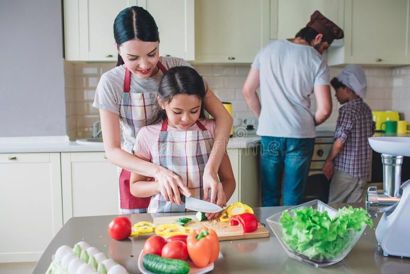 De zorgvuldige moeder helpt haar kind om groenten te snijden De jongens bevinden zich bij fornuis en het koken De familie werkt s stock afbeeldingen