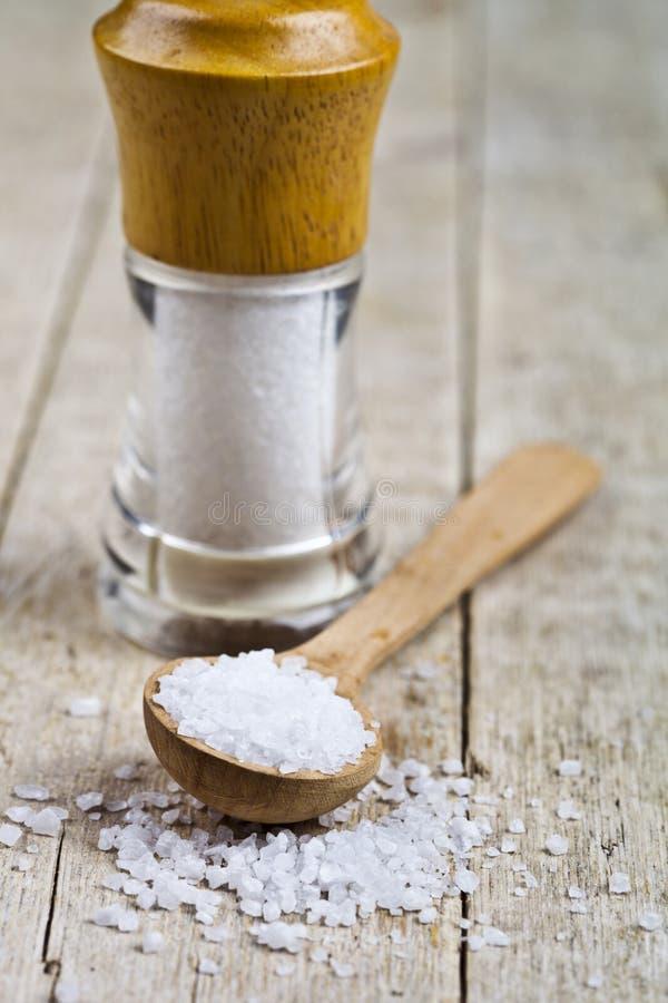 De zoute kelder houten lepels met overzees zout close-up op houten rustieke lijst royalty-vrije stock foto