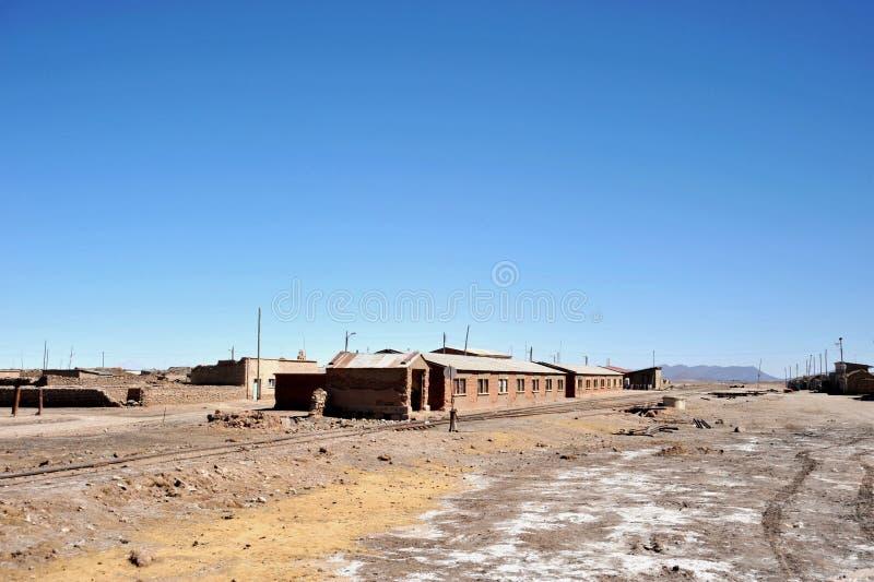 De zoute kelders op meer Uyuni royalty-vrije stock afbeelding