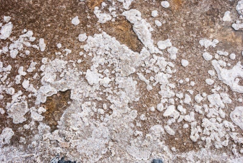 De zoute kristallen in verdampingsvijver sluiten omhoog stock afbeelding