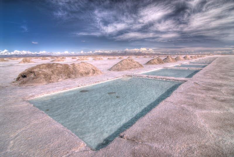De zoute Pools van de Extractie in Zoutmeren Grandes royalty-vrije stock afbeelding