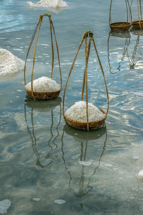 De zoute productie, zout verwerkt stock afbeeldingen