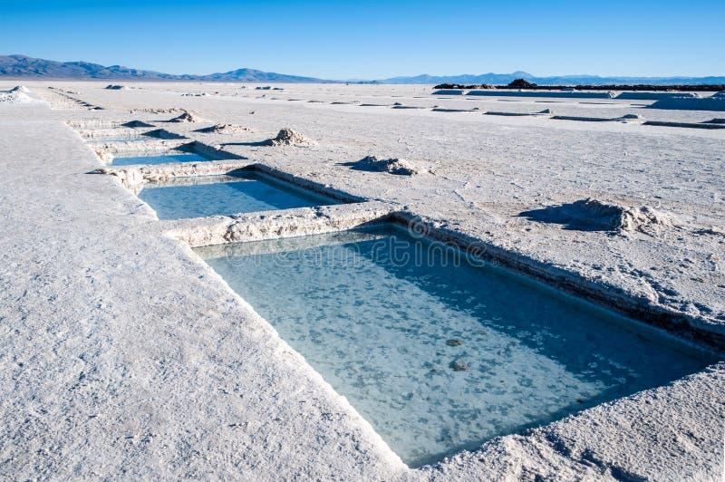 De zoutmeren Grandes op Argentinië de Andes is een zoute woestijn in Jujuy stock foto