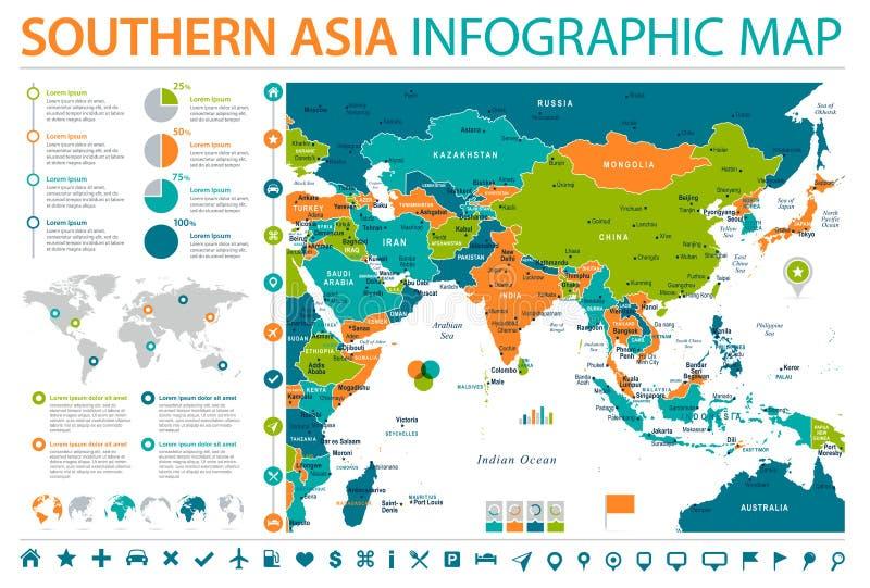De zuidelijke Kaart van Azië - Informatie Grafische Vectorillustratie vector illustratie