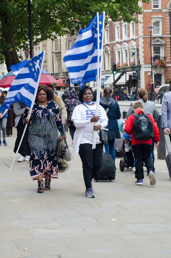 De zuidelijke protesteerders van Kameroen met vlag in Londen stock afbeelding