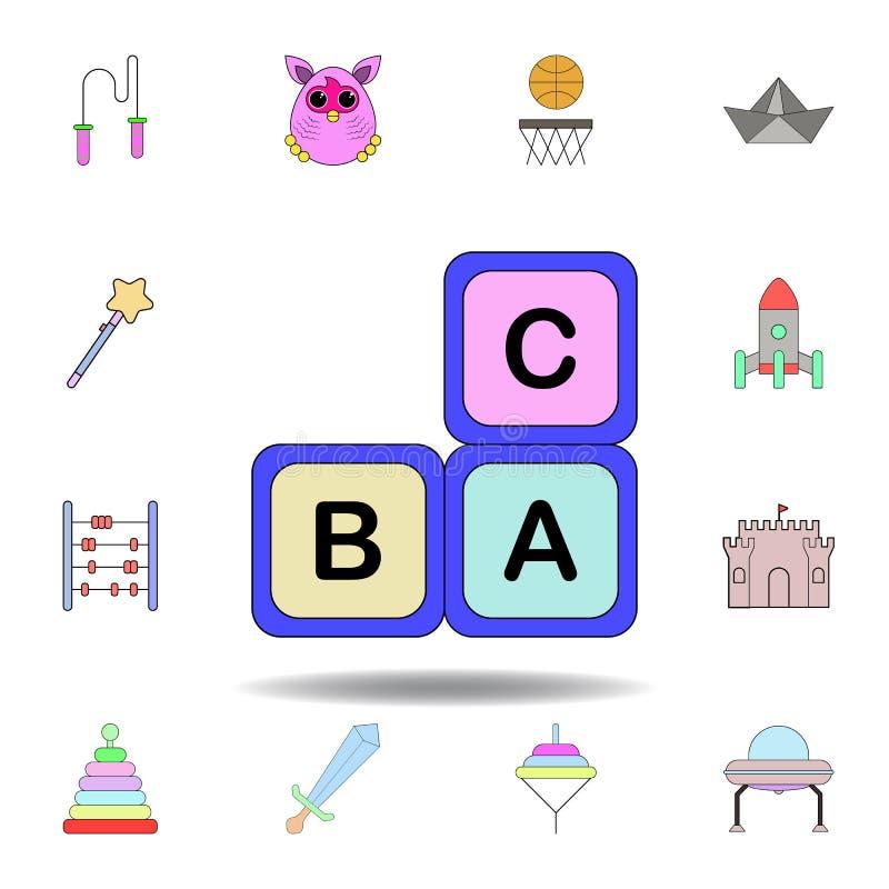 De zuigelingen van het beeldverhaalalfabet blokkeert stuk speelgoed gekleurd pictogram reeks de illustratiepictogrammen van het k royalty-vrije illustratie