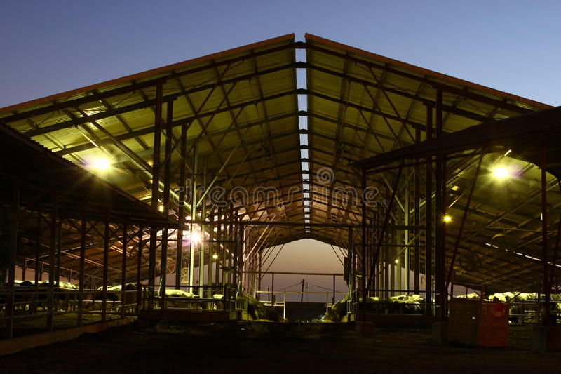 De zuivelfabriek van de nacht royalty-vrije stock fotografie