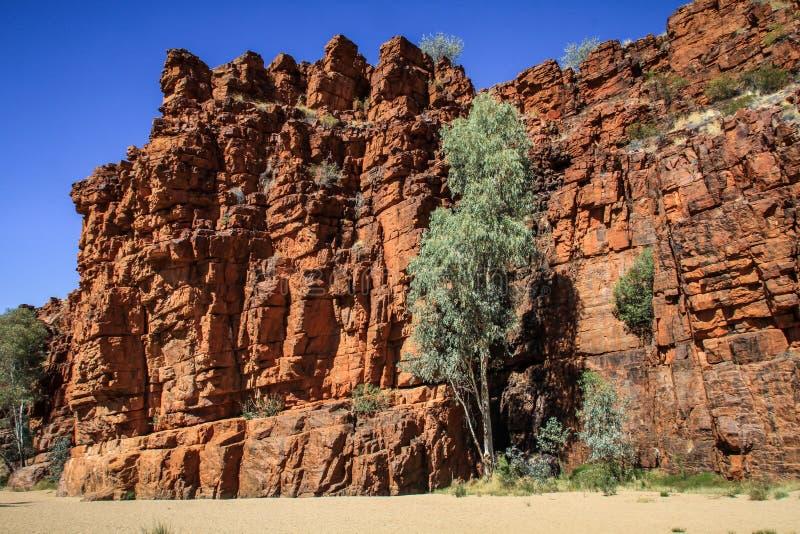 De zuivere kwartsietklippen bij Trephina-Kloof, Oost-Macdonnell Ranges, Noordelijk Grondgebied, Australië royalty-vrije stock fotografie