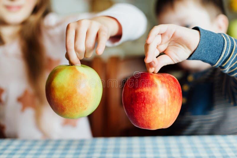 De zuster en de broer houden de appelen in hun handen Close-up royalty-vrije stock fotografie