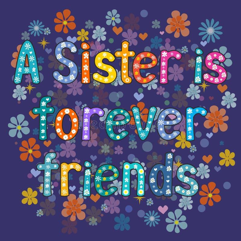 De zuster is voor altijd vriend royalty-vrije illustratie