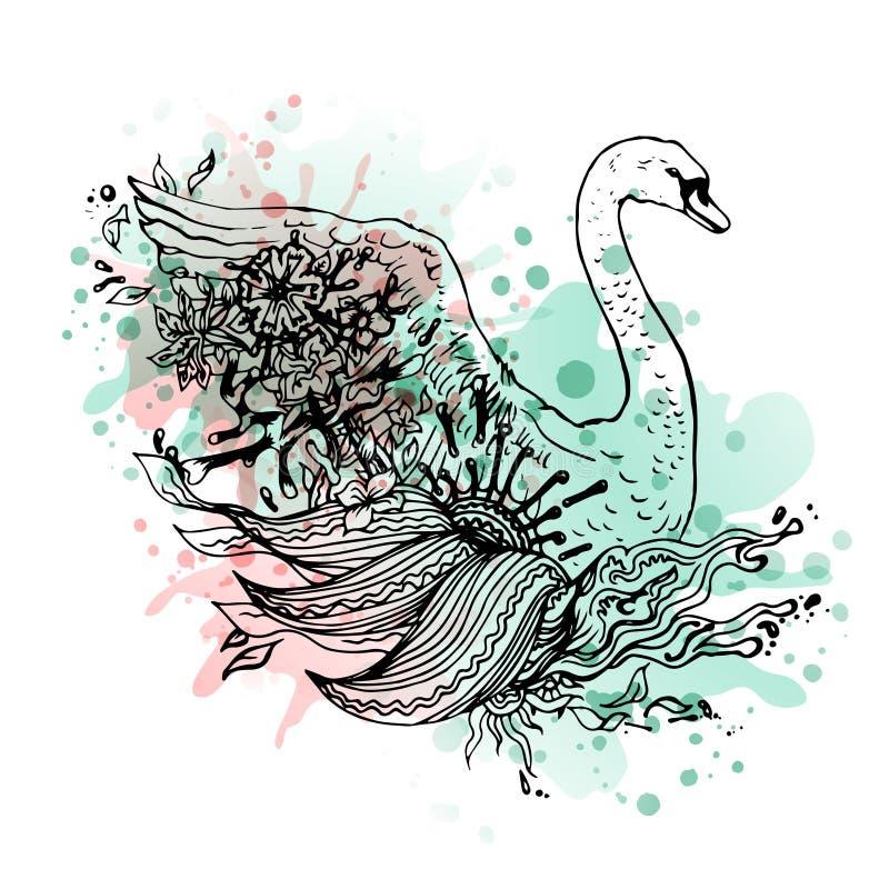 De zwaanwaterverf, vat grafische gekleurde vogel, druk samen royalty-vrije illustratie