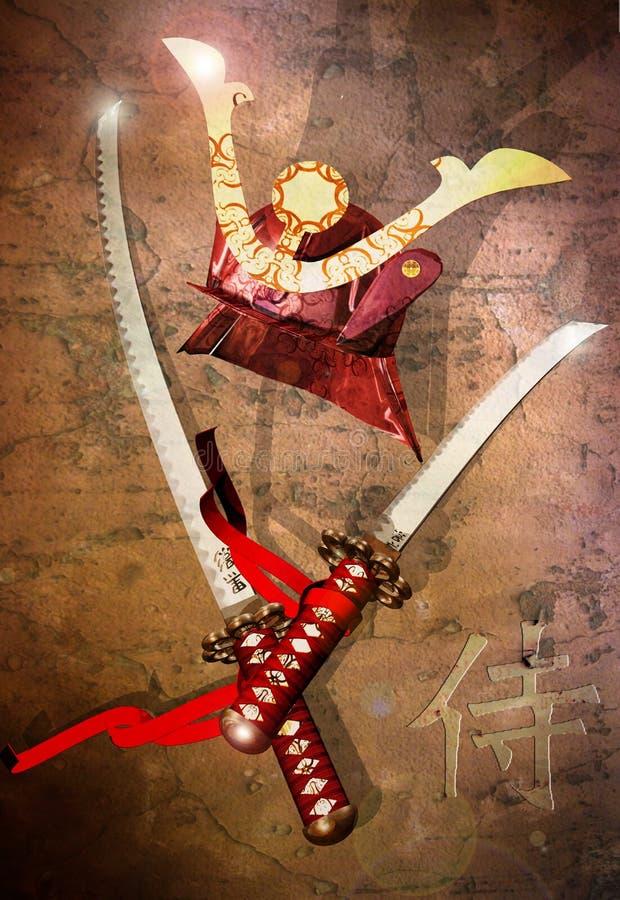 De zwaarden en de helm van samoeraien vector illustratie