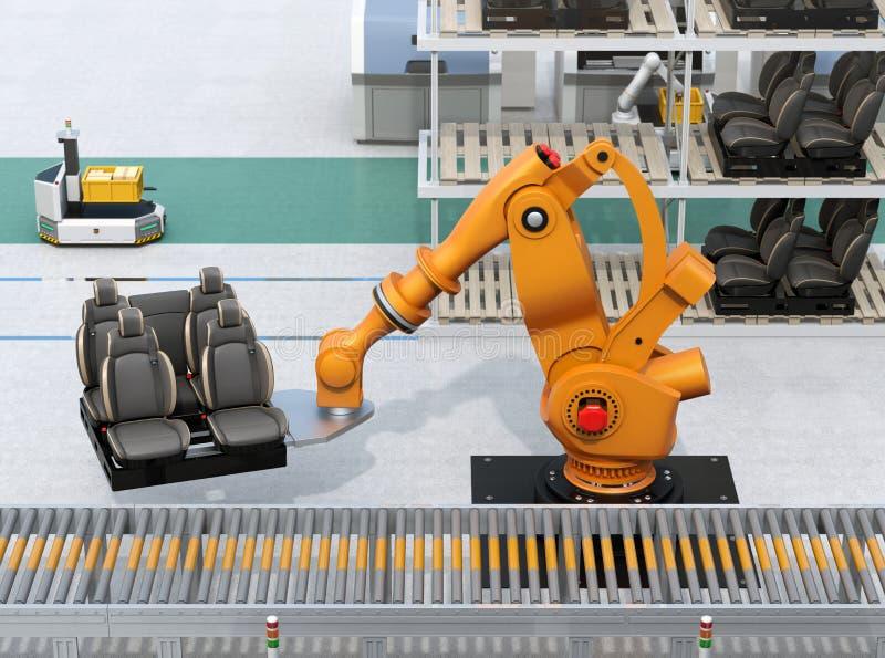 De zwaargewicht robotachtige zetels van de wapen dragende auto in de productielijn van de autoassemblage vector illustratie