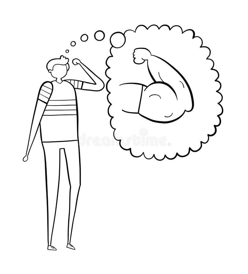 De zwakke mensendromen van het hebben van spierwapens, hand-drawn vectorillustratie Zwarte witte overzichten, royalty-vrije illustratie