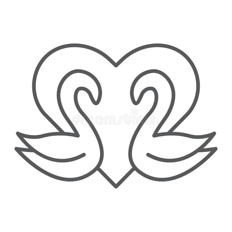 De zwanen verdunnen lijnpictogram, Romaans en liefde, zwanen en hartteken, vectorafbeeldingen, een lineair patroon op een witte a stock illustratie