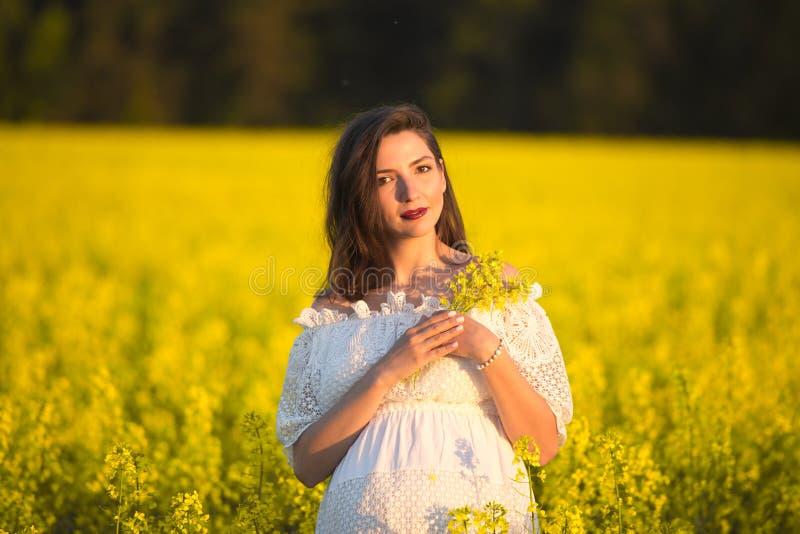 De zwangere bloemen van de meisjesholding Buik van een zwangere vrouw Het concept zwangerschap Over groene aard vage Achtergrond  royalty-vrije stock fotografie
