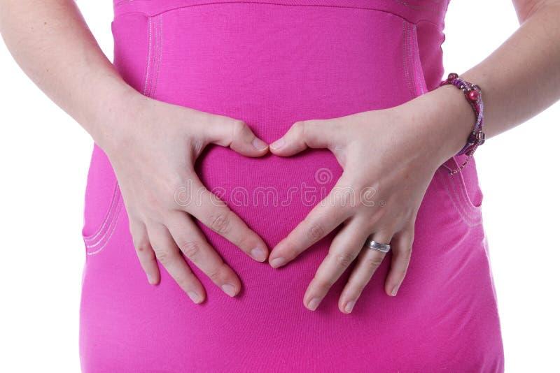 De zwangere buik van vrouwen stock fotografie