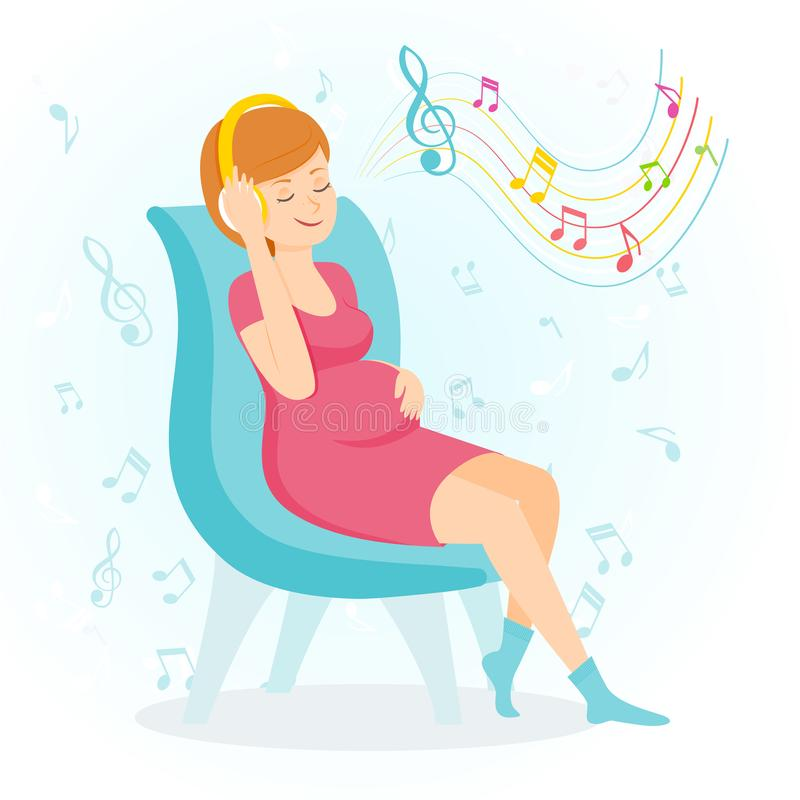 De zwangere gelukkige vrouw geniet van muziek vector illustratie