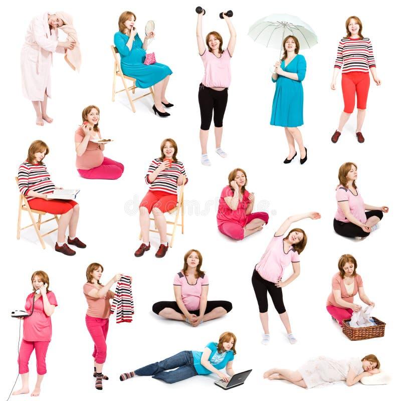 De zwangere reeks van het vrouwenbeeld stock foto's