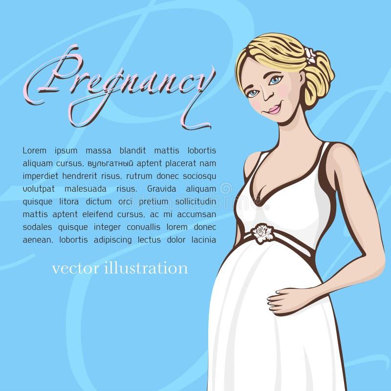 De zwangere tekening van de vrouwenhand, vectorachtergrond, banner, kaart Gekleurd beeldverhaalportret van verwachtend meisje met royalty-vrije illustratie