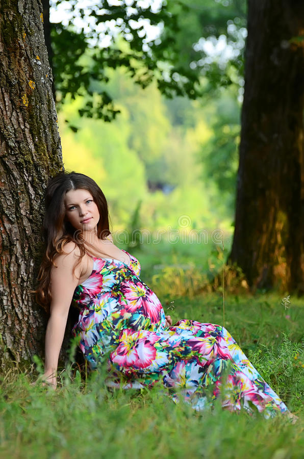De zwangere vrouw in de zomer op een gras stock fotografie