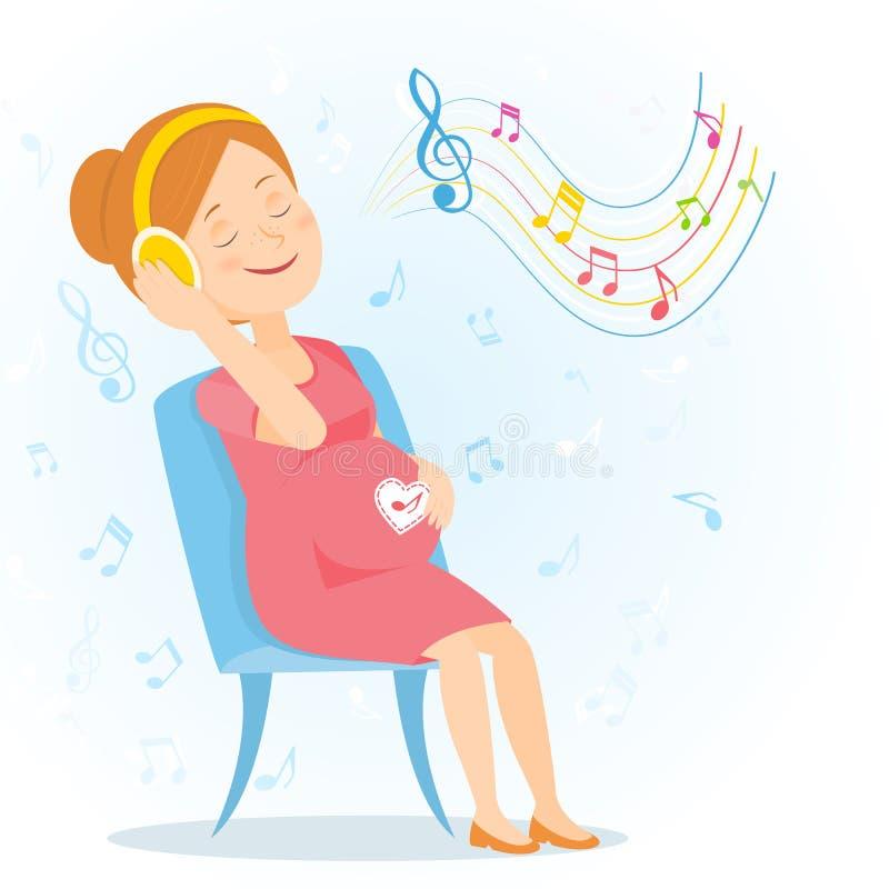 De zwangere vrouw geniet van muziek stock illustratie