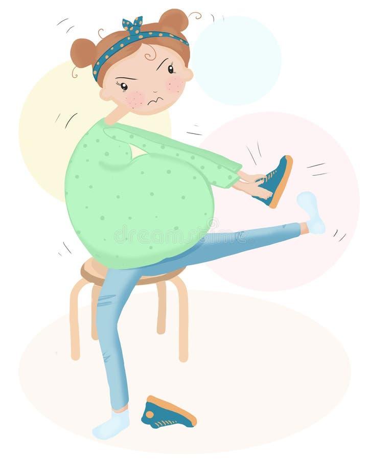 De zwangere vrouw kan geen schoenen, problemen van zwangerschap dragen stock illustratie