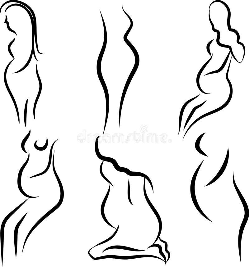 De zwangere vrouwen silhouetteren vectorreeks vector illustratie