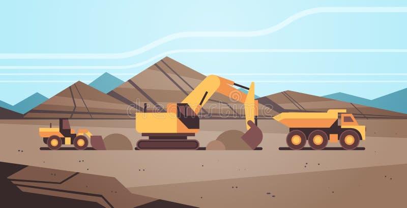 De zware grond van de graafwerktuiglading op de beroepsuitrusting die van de stortplaatsvrachtwagen bij het de mijnbouwvervoer va vector illustratie
